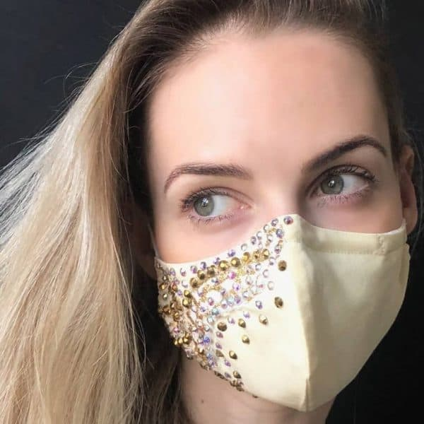 Bling custom SWAROVSKI rhinestone lace cool face mask