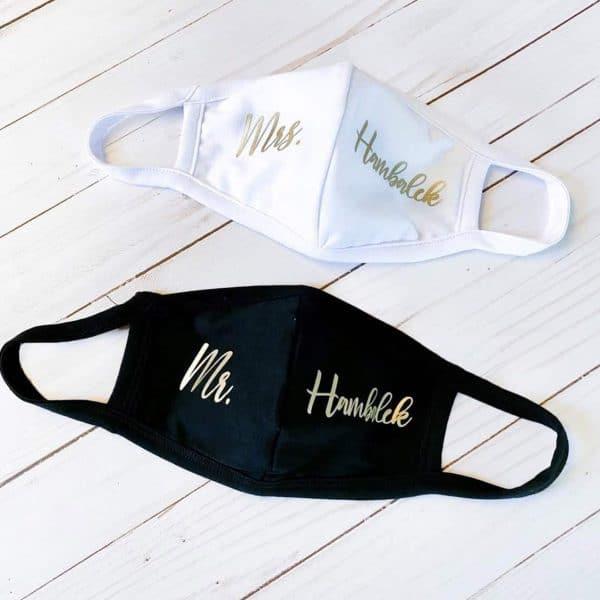 Custom Mr & Mrs Last Name Face Mask