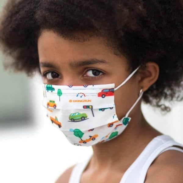 Kids 5 Pack of Disposable Mask Car Print