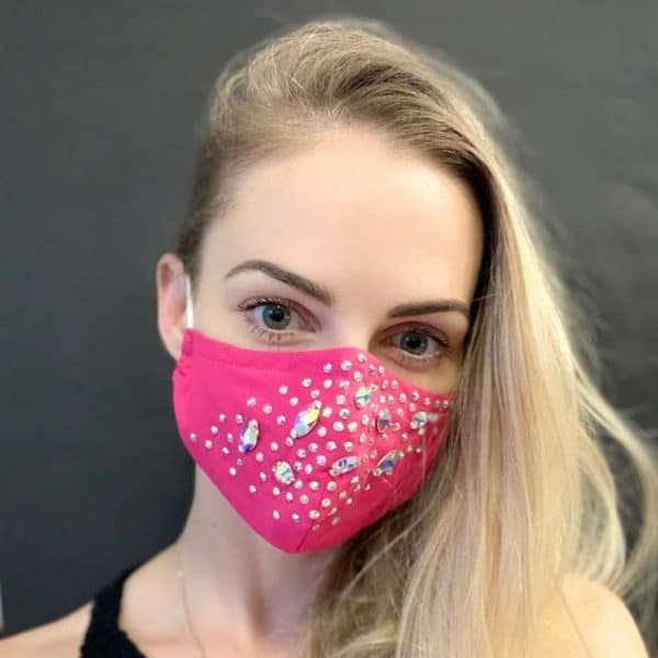 REAL SWAROVSKI Crystal rhinestone face mask with nose wire