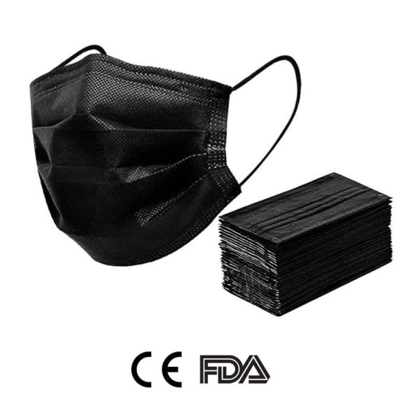 50pcs Black Face Mask Disposable 3Ply Earloop Mouth Cover