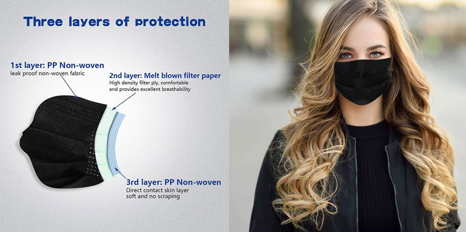 50pcs Black Face Mask Disposable 3Ply Earloop Mouth Cover Banner