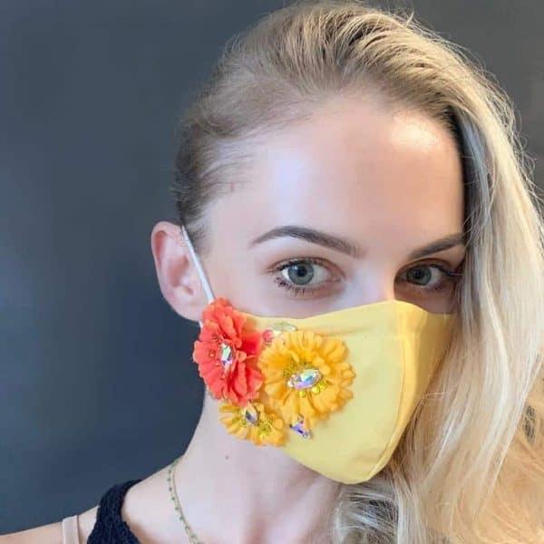 SWAROVSKI Crystal Flower Rhinestone Face Mask