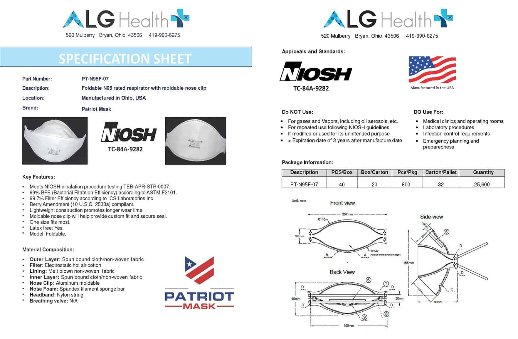 FOLDABLE N95 RESPIRATOR WITH NOSE CLIP