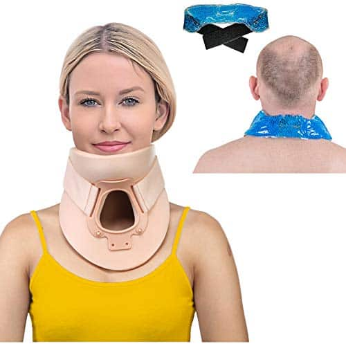 Soft Foam Cervical Collar Plus hot and Cold ice Pack -Neck Traction Device 3 1/4 Inch Immobilizer Collar Support Adjustable Neck and Head Braces (Medium) 1