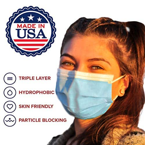 Disposable Blue Face Masks - MADE IN USA - Premium 3 Ply (50 pack) 2