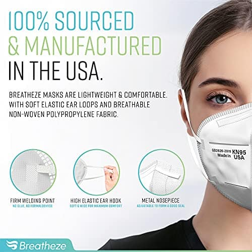 Breatheze KN95 Face Mask Made in USA – Disposable Masks - Foldable, Breathable KN-95 GB2626-2019 Facemask - High-Filtration Protective Barrier Face Covering - Elastic Ear Loops, Adjustable Nose Clip - 10 pack 2