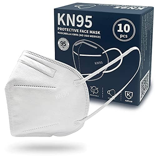 KN95 Face Mask Safety Masks, Cup Dust Mask Protection White 10 Pack FMKN95 1