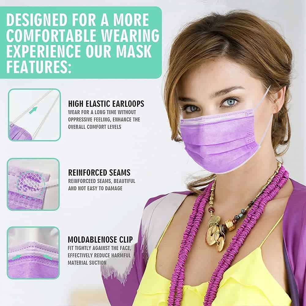 HIWUP 100Pcs Disposable Multicolored Face Masks Soft Skin Box Face Mask for Women and Men 3 Layer Adjustble Adult 13