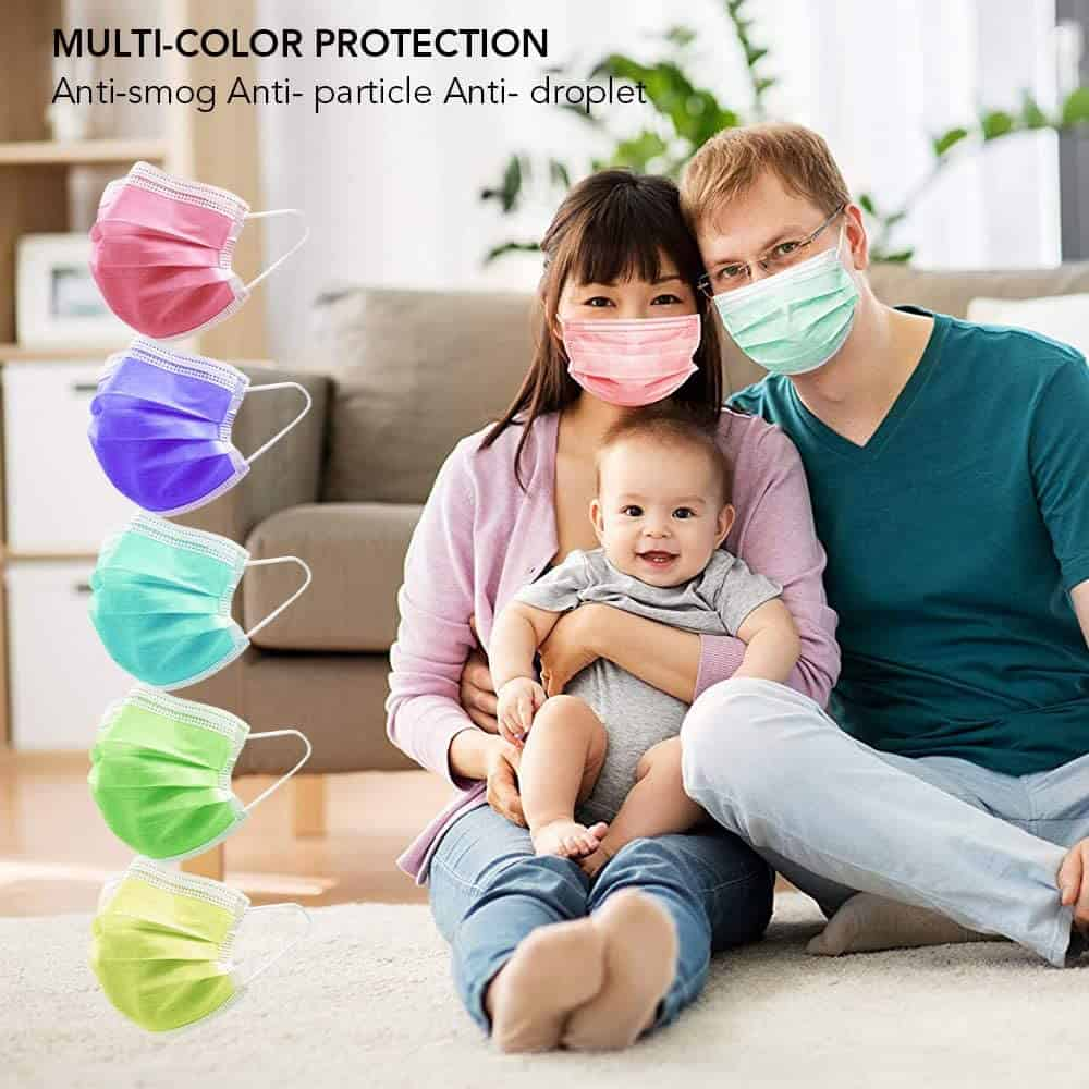 HIWUP 100Pcs Disposable Multicolored Face Masks Soft Skin Box Face Mask for Women and Men 3 Layer Adjustble Adult 15