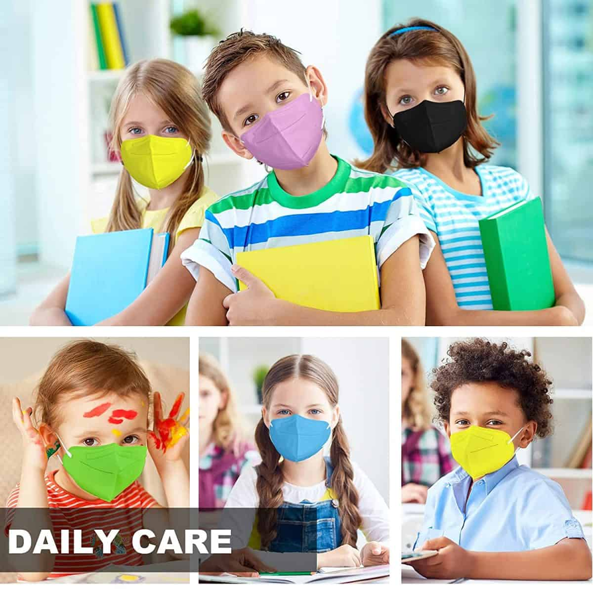 Kids KN95 Face Mask 25 Pack, KN95 Mask for Kids 5 Layers Cup Dust Mask with Adjustable Ear Loop, Multicolored Disposable Face Masks Respirator Protection for Children 7