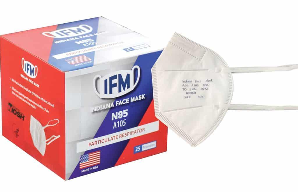 Indiana Face Mask N95 Respirator - Box of 25, NIOSH N95, Made in USA, Particulate Respirator >95% 5