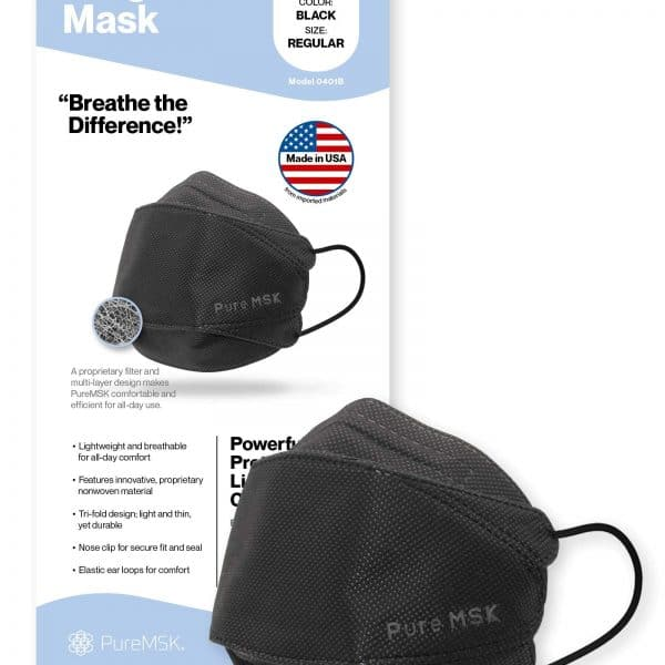 PURE-MSK Trifold Disposable Mask - Made in the USA - Light Weight Easy Breathing Material - Adult Size - 10 Pack - Black 8