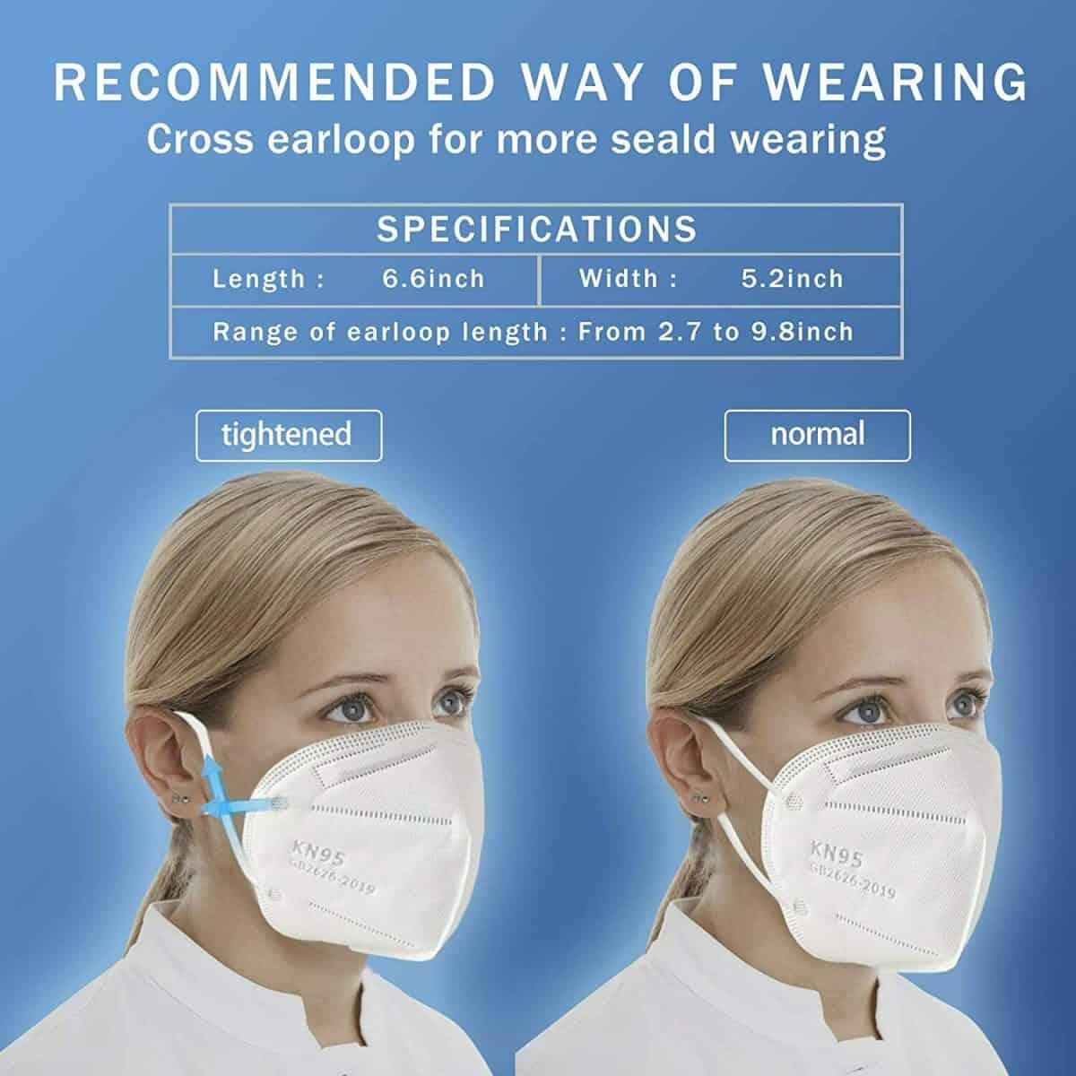 100 Pcs KN95 Protective 5 Layers Face Mask BFE 95% PM2.5 Disposable K N95 Masks 7