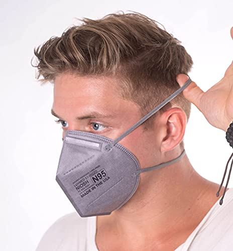 Aidway N95 Respirator - Made in USA - Protection from Dust & Airborne Contaminants - Disposable - 10 Count - Grey Color 5