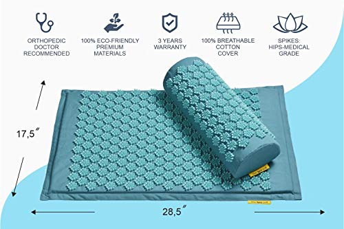 TimeBeeWell Eco-Friendly Back and Neck Pain Relief - Acupressure Mat and Pillow Set - Relieves Stress, Back, Neck, and Sciatic Pain - Comes in a Carry Bag for Storage and Travel 2