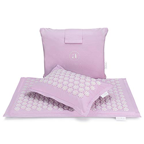 Acupressure Mat and Pillow Set - Ideal for Back Pain Relief and Neck Pain Relief - Advanced Stress Reliever - Muscle Relaxant - Free Tote Bag - Eco Lite (Sky Blue) - Twilight Purple 30