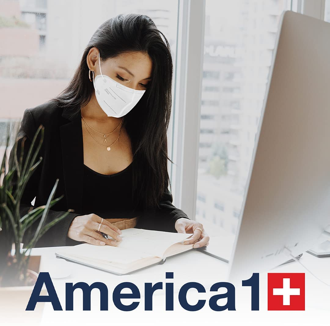 America1 KN95 Face Masks | Made in USA | Breathable Face Masks with 4-Layer Protection | Face Masks for Men and Women | Disposable Face Masks for Work, Home, and Outdoor | 20 Count White Face Masks 16