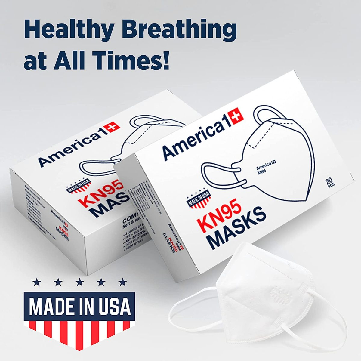 America1 KN95 Face Masks | Made in USA | Breathable Face Masks with 4-Layer Protection | Face Masks for Men and Women | Disposable Face Masks for Work, Home, and Outdoor | 20 Count White Face Masks 14