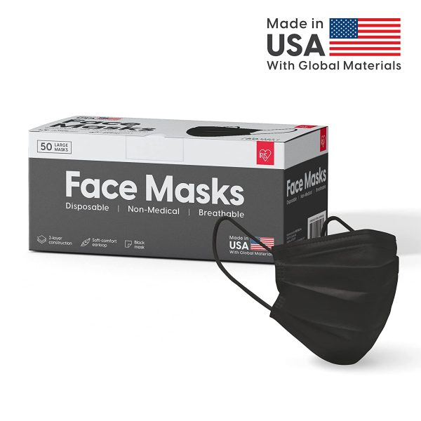 IRIS USADisposable Face Mask50 Pcs Breathable 3 LayerFace MaskBlack Disposable Face Maskor WhiteMaskColor Option Made in USA,50-piece/ Black 2